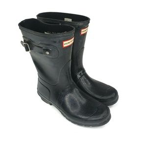 HUNTER ORIGINAL SHORT GLOSS RAIN BOOT BLACK WOMEN'